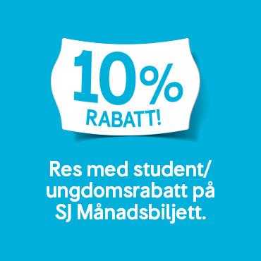 10 % studentrabatt hos SJ