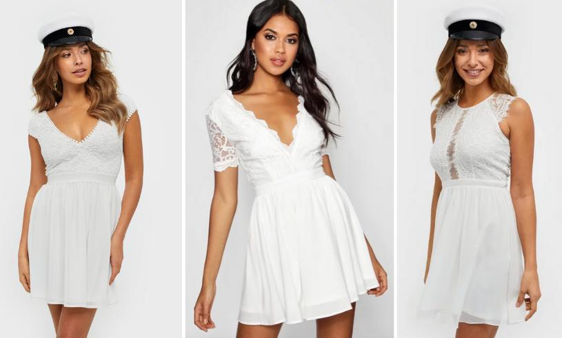 Den här klänningen har en djup v ringning, puffärmar med en